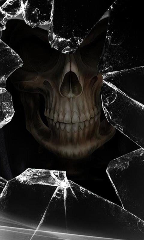 碎屏骷髅黑色高清壁纸