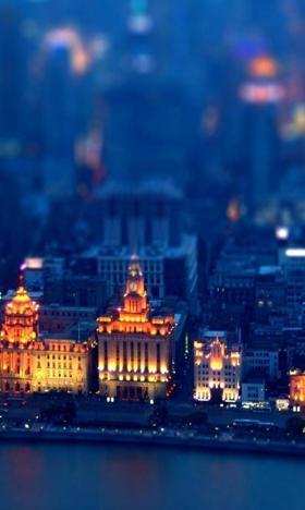 蓝色的城市背景图