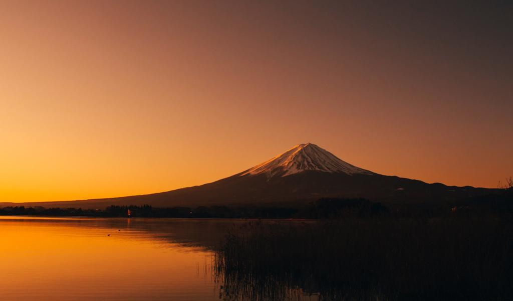 好看的黄黄的画面下的富士山一样美图片壁纸