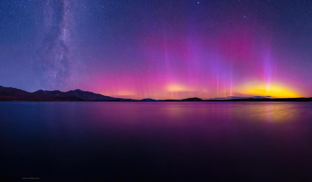 夜晚 星空 极光 湖泊图片壁纸