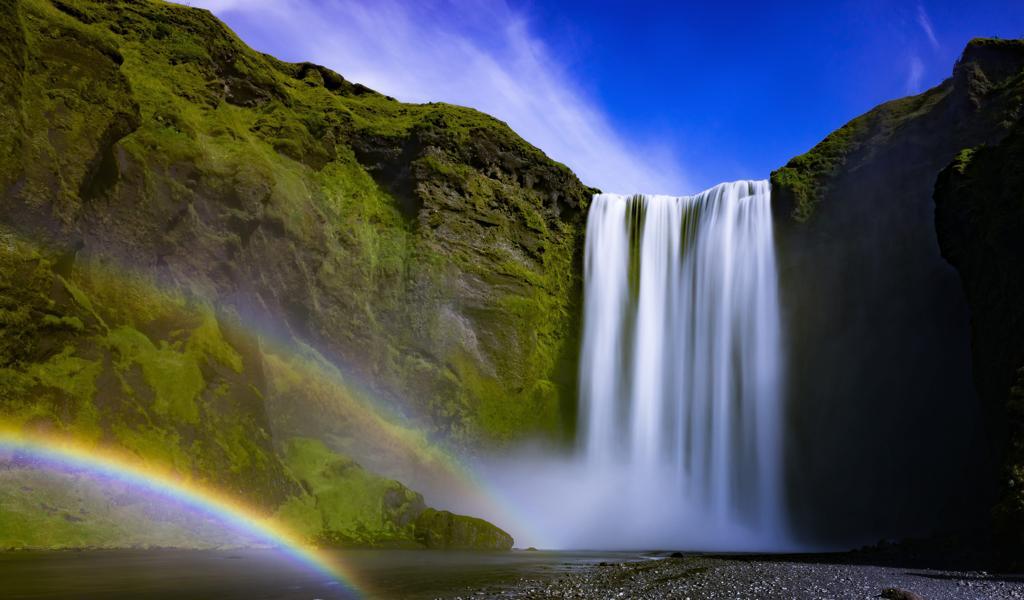 气势磅礴的瀑布风景图片手机背景下载