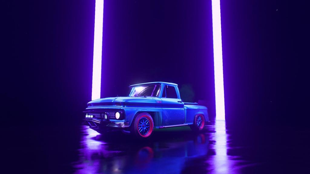 个性车蓝色卡车桌面壁纸