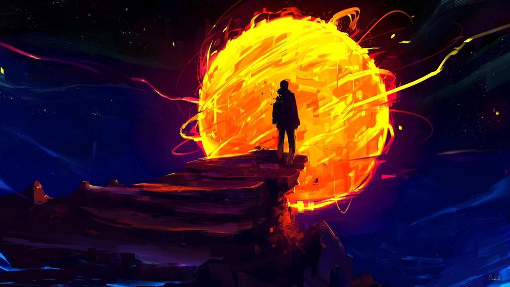 炫酷黑夜中的太阳动漫壁纸下载
