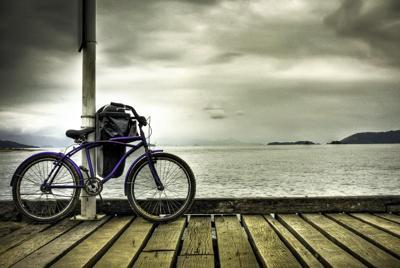 海边单车风景唯美意境图