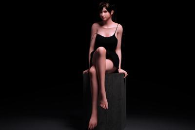 坐在T台子上3D美少女桌面壁纸