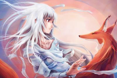 卡通美少女和狐狸的电脑壁纸