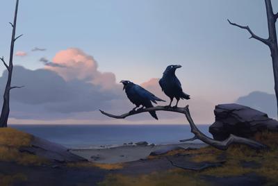 动漫手绘壁纸荒野枯树上的两只乌鸦