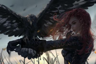 动漫手绘训鹰的女孩插画壁纸图片