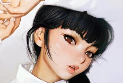 动漫黑发亚洲美女手绘插画桌面壁纸