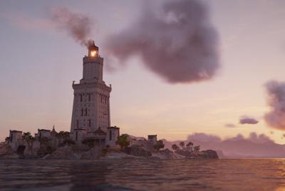 海上的城堡上的篝火高清壁纸