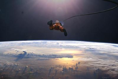 地球上空宇航员图片桌面壁纸