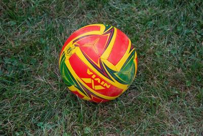 草地上彩色足球素材图片