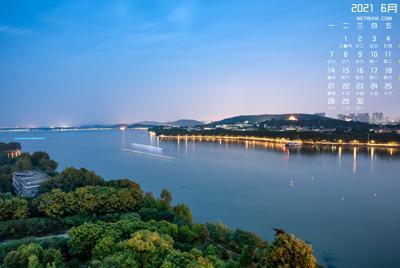 东湖风景图片2021年6月日历壁纸
