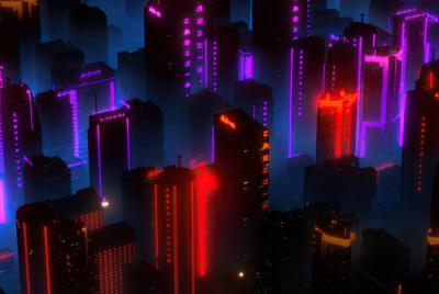 城市建筑 霓虹灯电脑壁纸大图