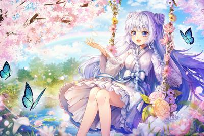 樱花蝴蝶动漫女孩电脑桌面壁纸