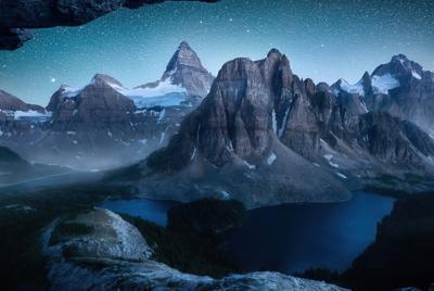 精美雪高山星空高清壁纸