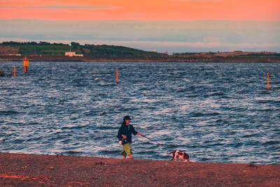 黄昏海边骝狗的女孩唯美桌面壁纸