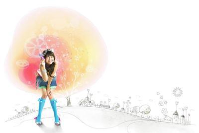 卡通背景的韩国美女壁纸