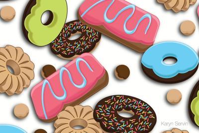 甜点糖果花纹电脑桌面背景