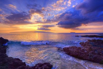 夕阳下的金色海岸高清唯美桌面壁纸